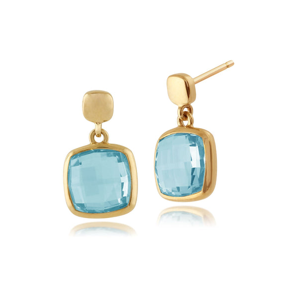 Square Blue Topaz 9ct Yellow Gold Drop Earrings