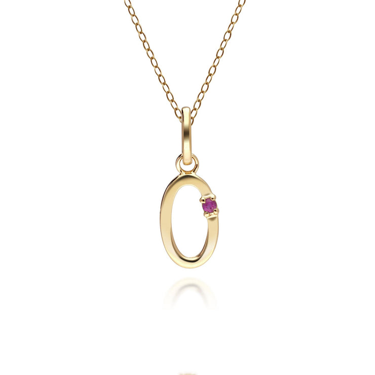 Initial O Ruby Letter Charm Necklace in 9ct Yellow Gold