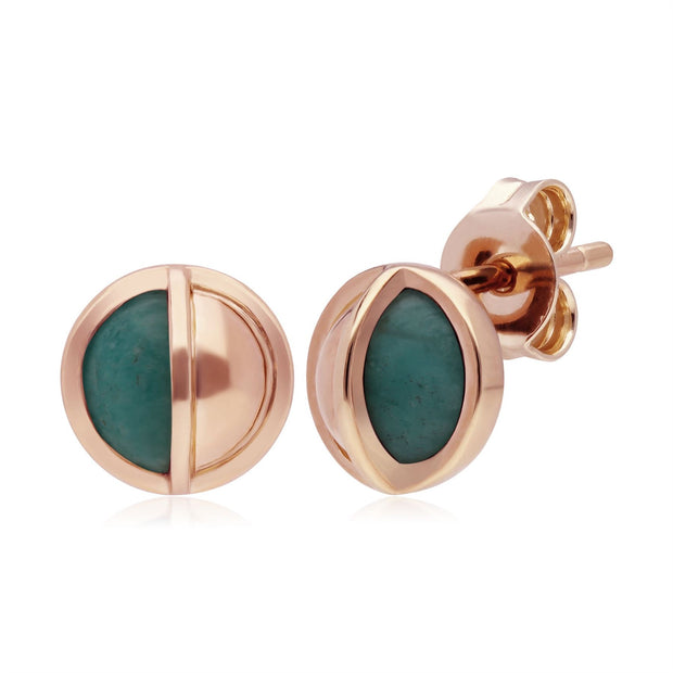 Micro Statement Round Amazonite Stud Earrings in Rose Gold Plated 925 Sterling Silver
