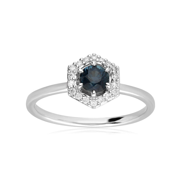 9ct White Gold 0.448ct Sapphire & Diamond Halo Engagement Ring