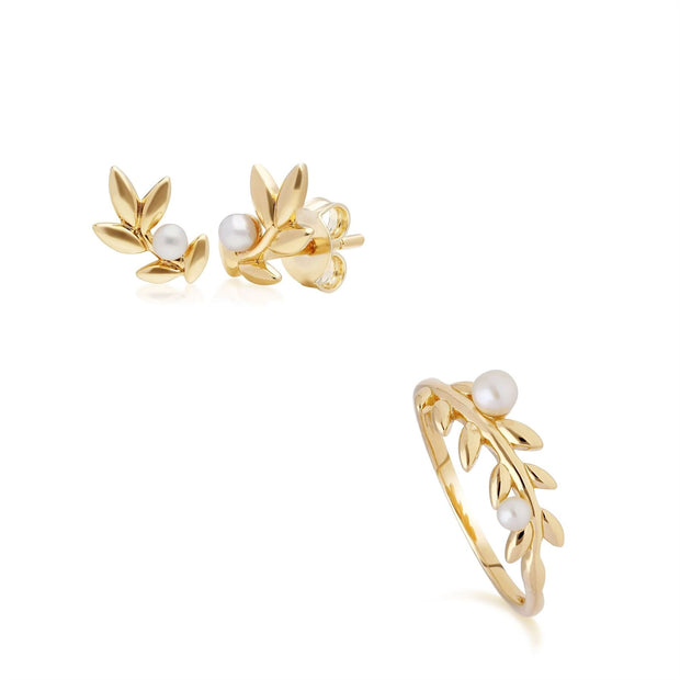 O Leaf Pearl Stud Earring & Ring Set in Gold Plated 925 Sterling Silver