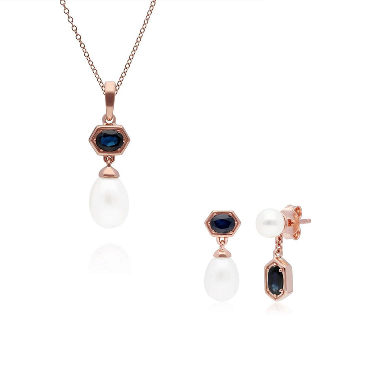Modern Pearl & Sapphire Pendant & Earring Set in Rose Gold Plated Sterling Silver