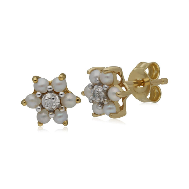 Gemondo Floral Pearl & Diamond Stud Earrings in 9ct Yellow Gold