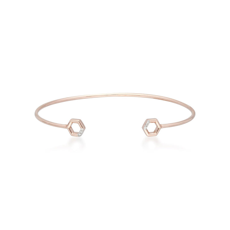 Diamond Pavé Hexagon Open Bangle in Rose Gold