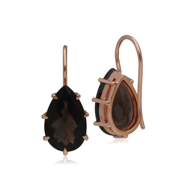 Kosmos Smokey Quartz Earrings in Rose Gold Plated Sterling Silver