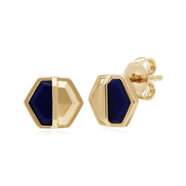 Micro Statement Lapis Lazuli Hexagon Stud Earrings in Gold Plated 925 Sterling Silver