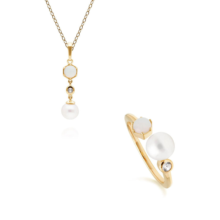 Modern Pearl, Topaz & Opal Pendant & Ring Set in Gold Plated Sterling Silver