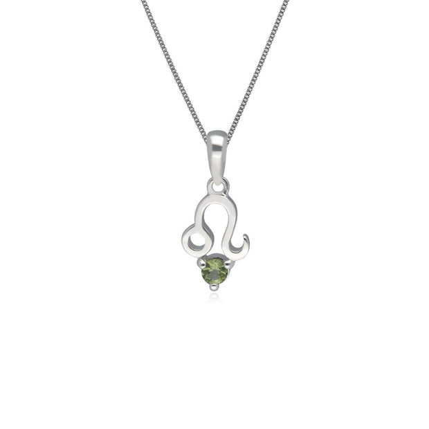 Peridot Leo Zodiac Necklace in 9ct White Gold