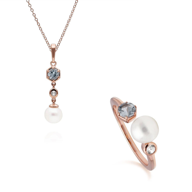 Modern Pearl, Aquamarine & Topaz Pendant & Ring Set in Rose Gold Plated Sterling Silver