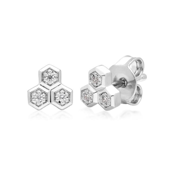 Diamond Trilogy Ring & Stud Earring Set in 9ct White Gold