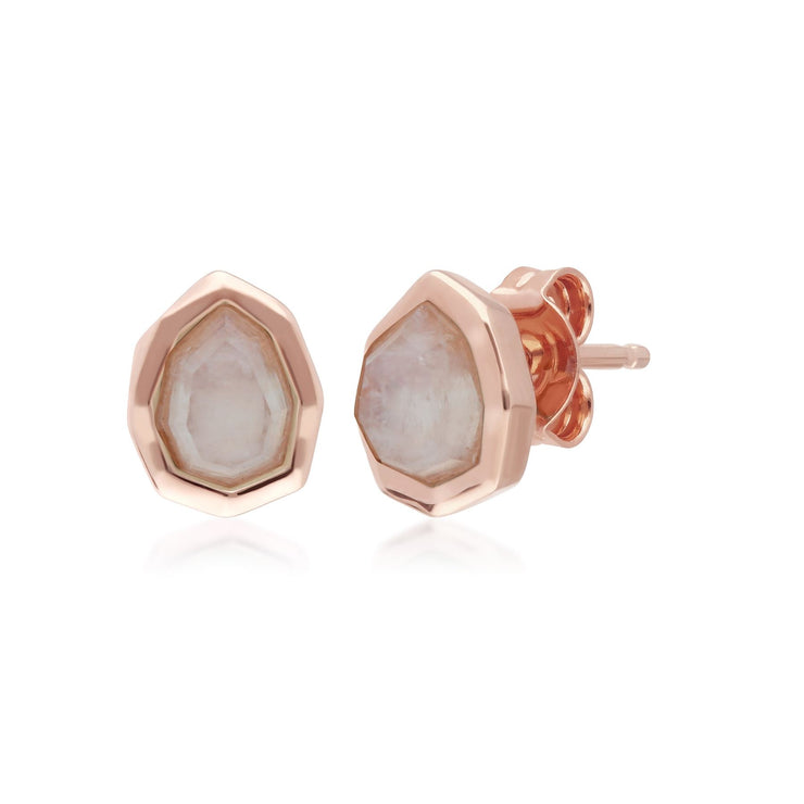 Irregular B Gem Rainbow Moonstone Stud Earrings in Rose Gold Sterling Silver