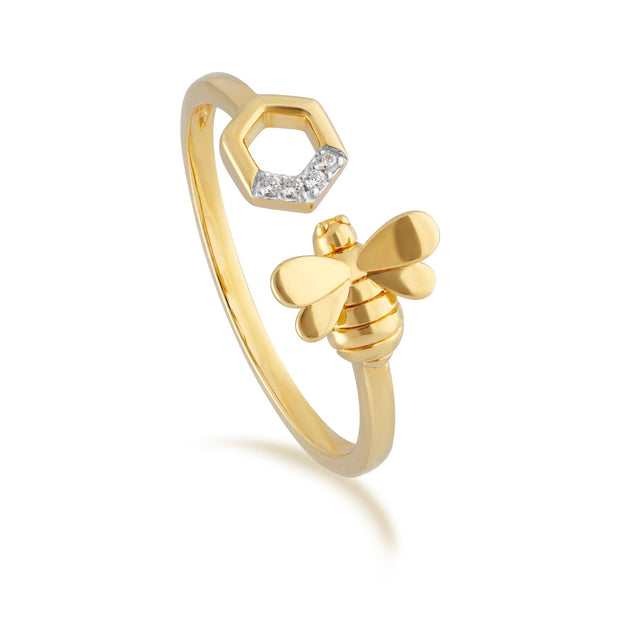 Yellow Gold Diamond Bee Open Ring