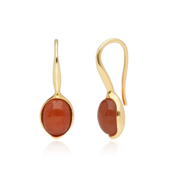 Irregular Collection Dyed Red Jade & Diamond Drop Earrings in Gold Plated Sterling Silver