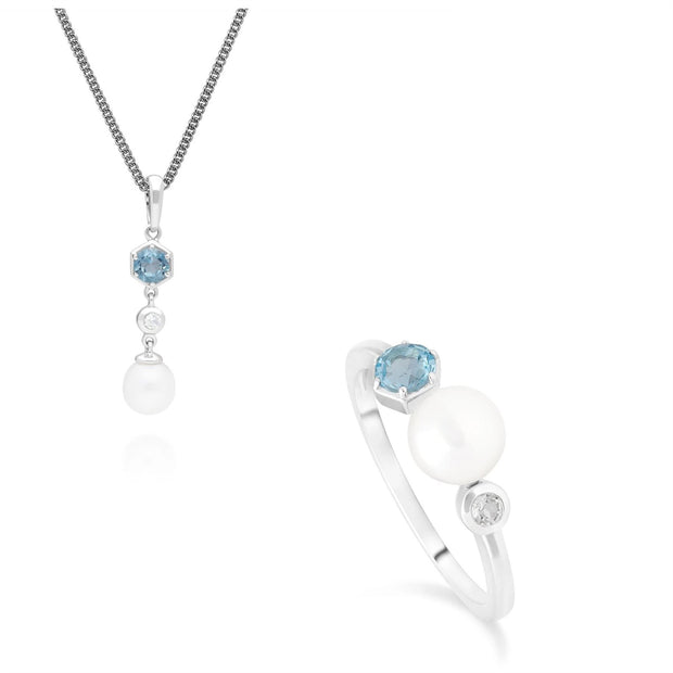 Modern Pearl & Topaz Ring & Pendant Set in Sterling Silver