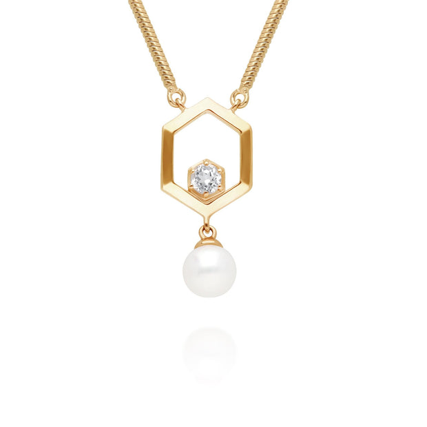 Modern Pearl & White Topaz Hexagon Drop Necklace in Gold Plated Sterling Silver