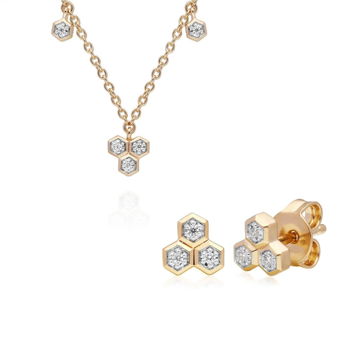 Diamond Trilogy Necklace & Stud Earring Set in 9ct Yellow Gold