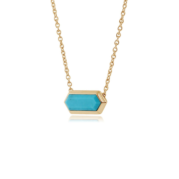 Geometric Hexagon Turquoise Prism Gold Plated Silver Necklace