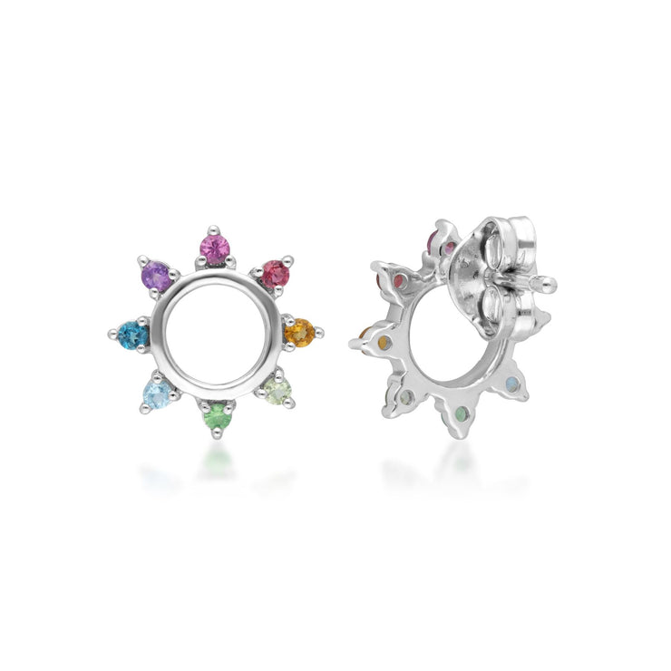 Rainbow Sunburst Stud Earrings in Sterling Silver