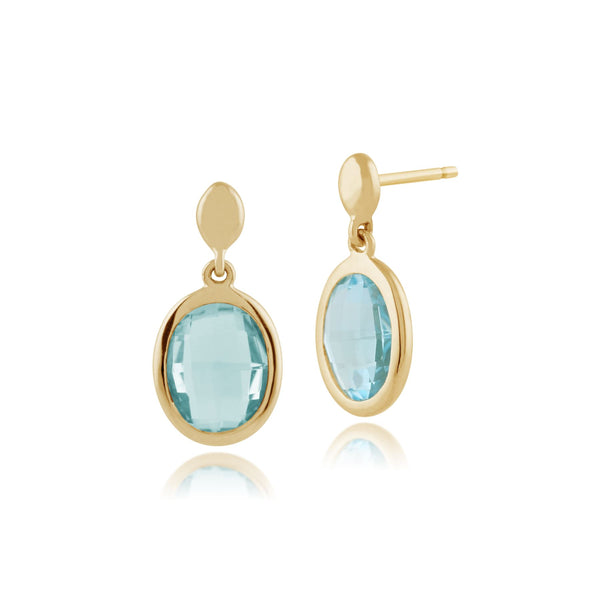 Blue Topaz 9ct Yellow Gold Oval Drop Earrings