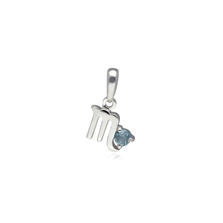 Blue Topaz Scorpio Zodiac Charm in 9ct White Gold