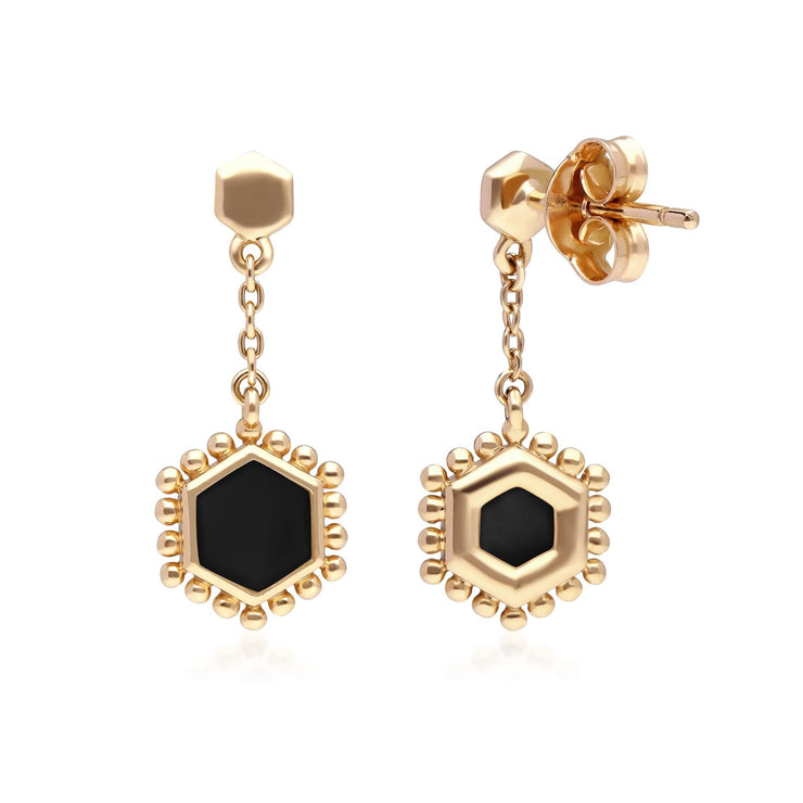 Black Onyx Flat Slice Hex Drop Earrings in Gold Plated 925 Sterling Silver