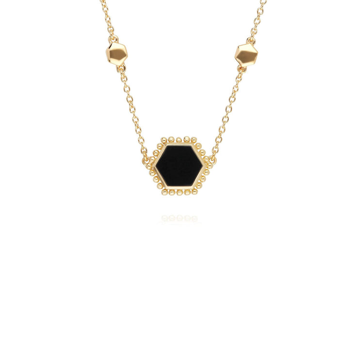 Black Onyx Flat Slice Hex Necklace in Gold Plated Sterling Silver