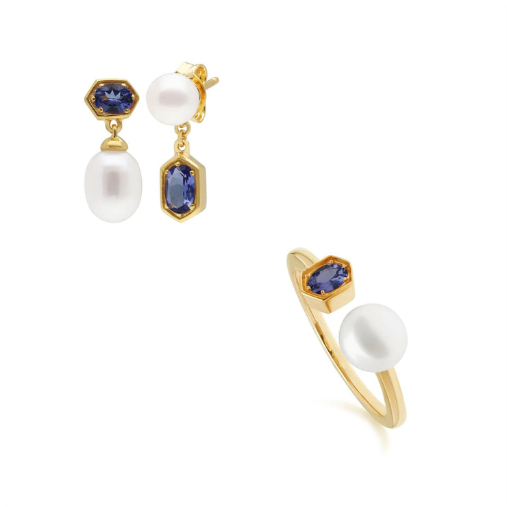Modern Pearl & Tanzanite Earring & Ring Set in Gold Plated Sterling Silver