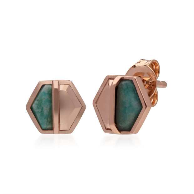 Micro Statement Amazonite Hexagon Stud Earrings in Rose Gold Plated 925 Sterling Silver