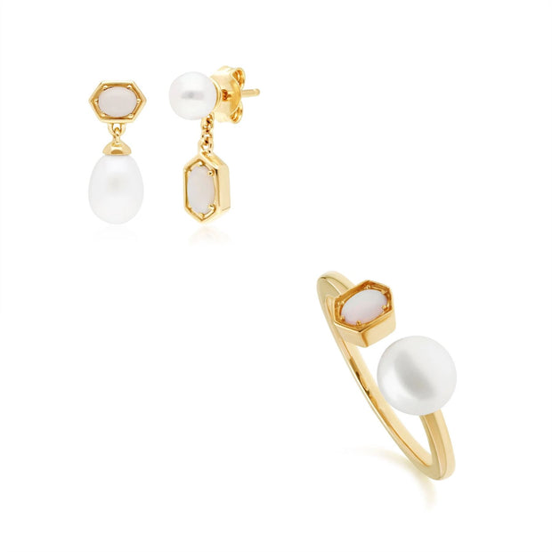 Modern Pearl & Opal Earring & Ring Set in Gold Plated Sterling Silver