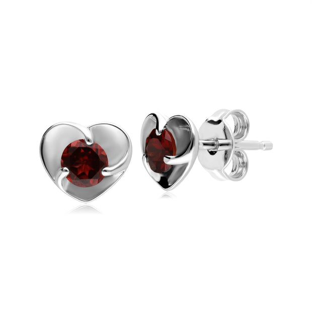 Gemondo Red Garnet Gemstone Love Heart Sterling Silver Stud Earrings