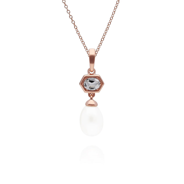 Modern Pearl & White Topaz Hexagon Drop Pendant in Rose Gold Plated Sterling Silver