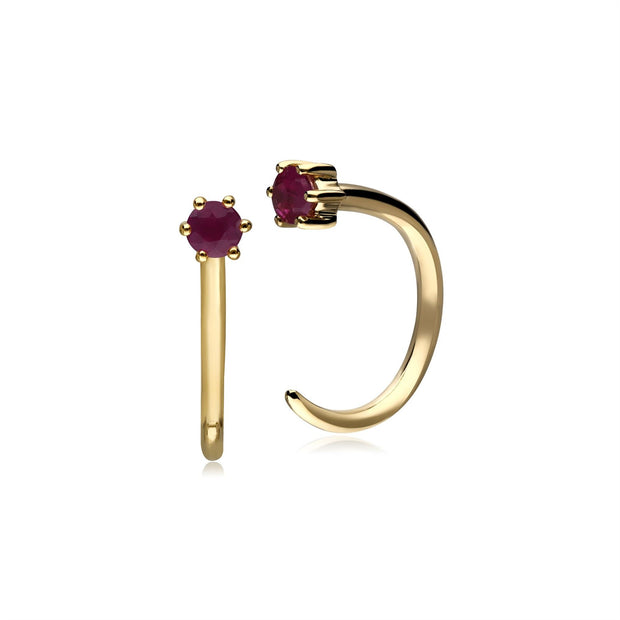 Ruby Pull Through Hoop Earrings In 9ct Gold