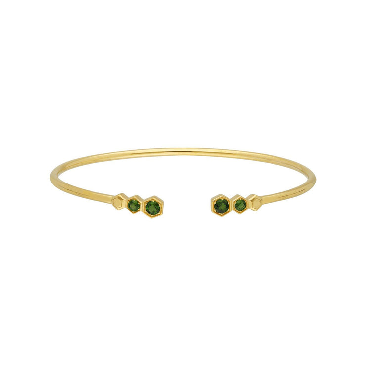 Geometric Chrome Diopside Open Bangle in Gold Plated Sterling Silver