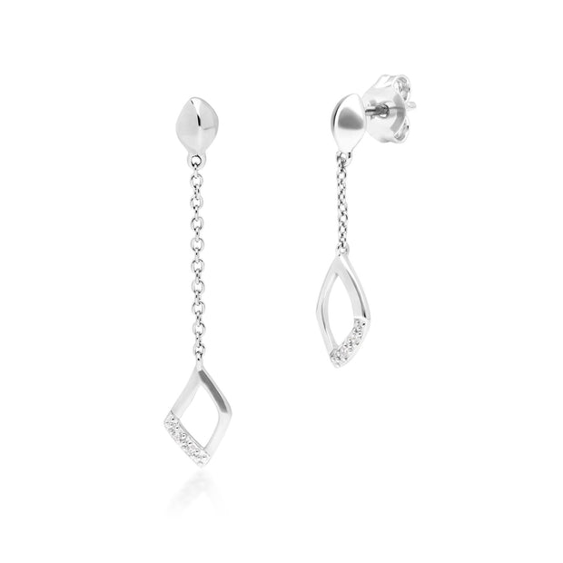 Diamond Pave Mismatched Dangle Drop Earrings in 9ct White Gold