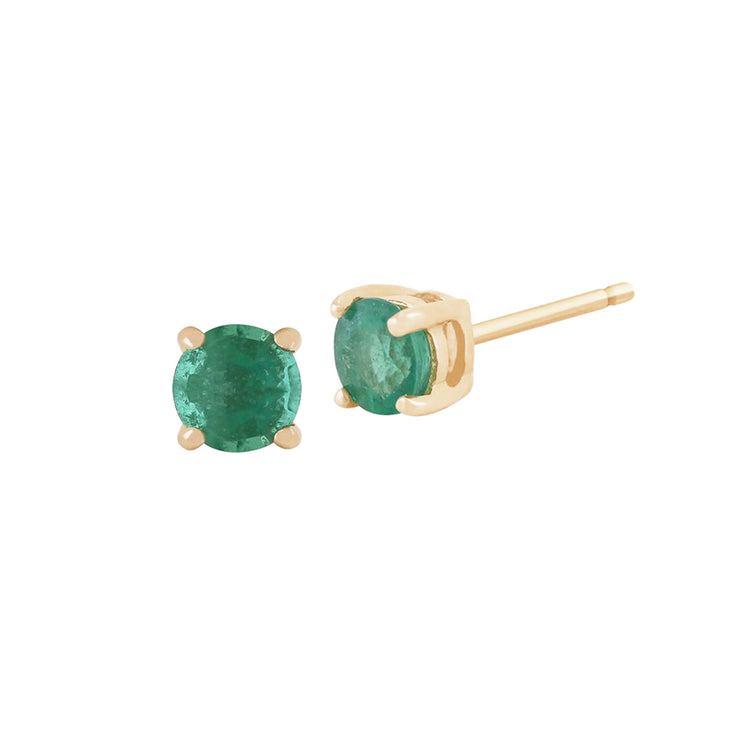 10ct Yellow Gold Emerald Single Stone Pear Stud Earrings