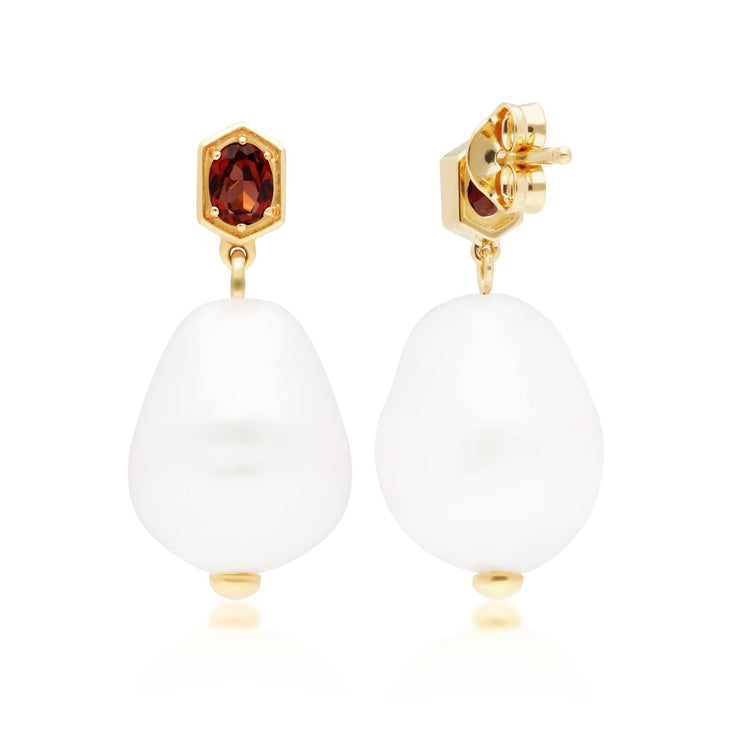 Modern Baroque Pearl & Garnet Drop Earrings in Gold Plated Sterling Silver