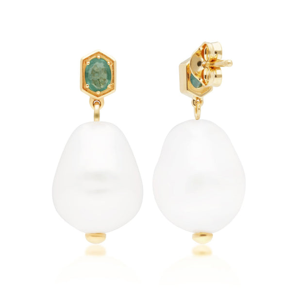 Modern Baroque Pearl & Emerald Drop Earrings in Gold Plated Sterling Silver