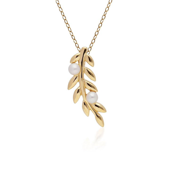 O Leaf Pearl Pendant & Stud Earring Set in Gold Plated 925 Sterling Silver