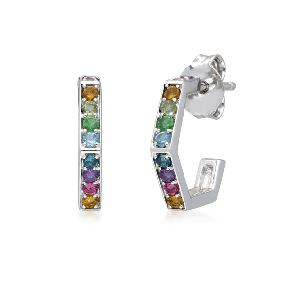 Rainbow Hexagon Hoop Earrings in Sterling Silver