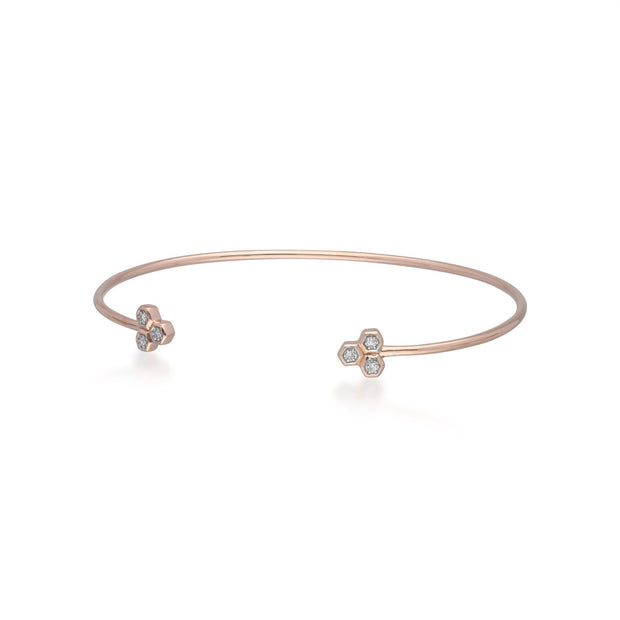 Diamond Trilogy Geometric Open Bangle in 9ct Rose Gold Side