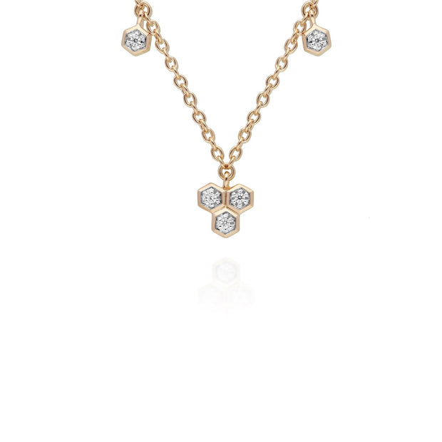 Trilogy diamond necklace on 9ct yellow gold chain