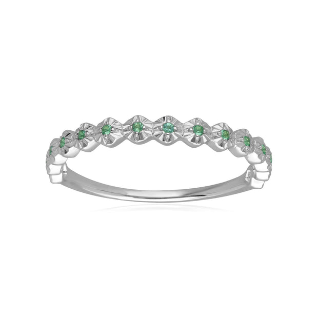 9ct White Gold 0.045ct Emerald Band Ring
