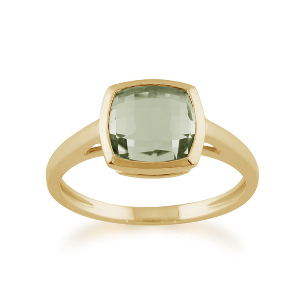 Gemondo Square Mint Green Checkerboard Quartz 9ct Yellow Gold Ring