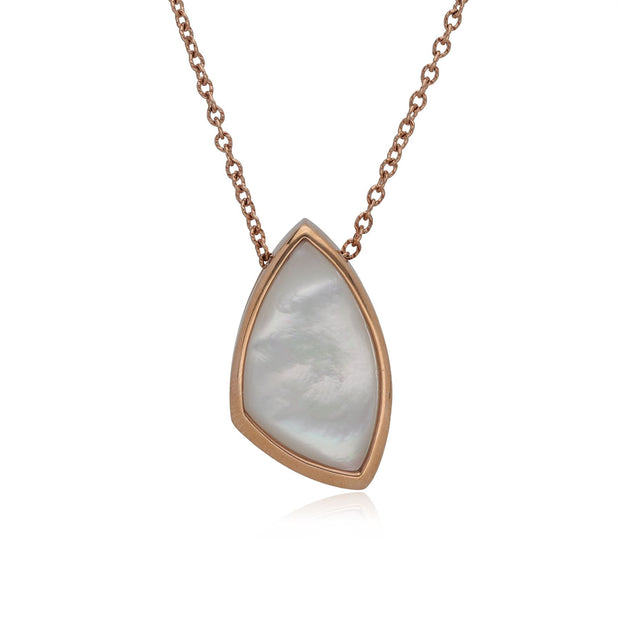 Kosmos Mother of Pearl Angular Necklace in Rose Gold Plated Sterling Silver