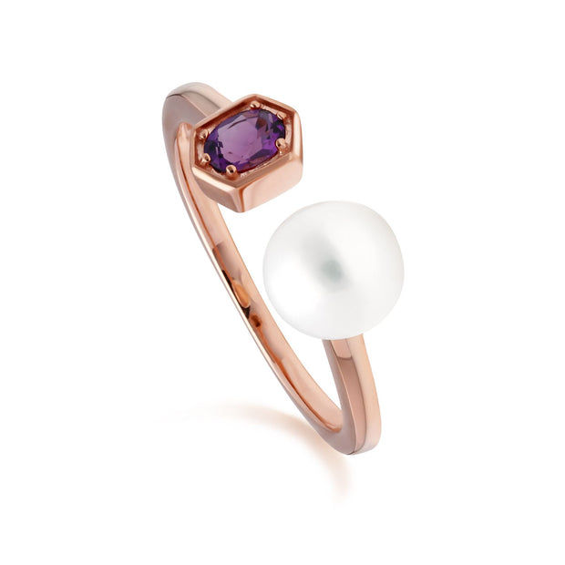 Modern Pearl & Amethyst Open Ring in Rose Gold Plated Sterling Silver