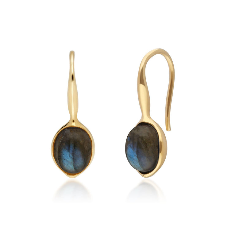 Irregular B Gem Labradorite Drop Earrings in Yellow Gold Plated Sterling Silver