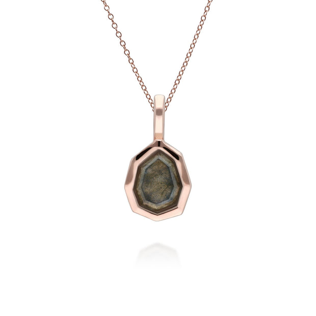 Irregular B Gem Labradorite Pendant in Rose Gold Plated Sterling Silver