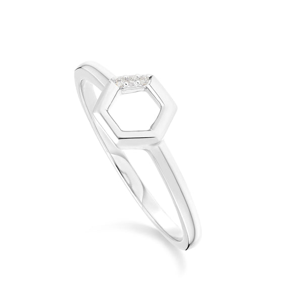 Diamond Hexagon Open Ring in 9ct White Gold