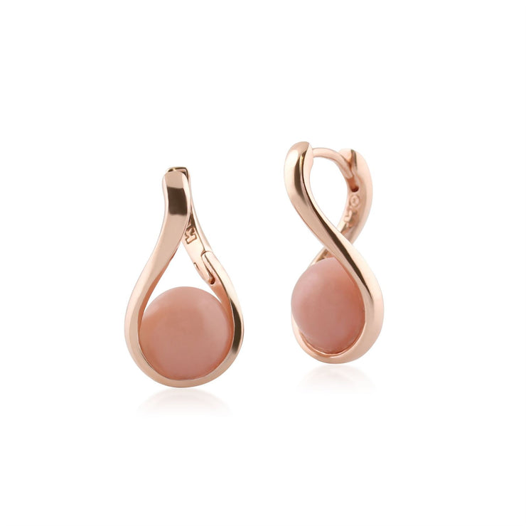 Kosmos Pink Opal Orb Earrings in Rose Gold Plated Sterling Silver