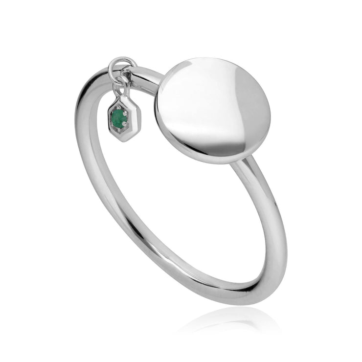 Emerald Engravable Ring in Sterling Silver
